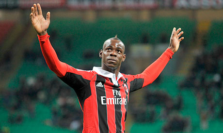 Mario Balotelli celebrates his goal against Udinese in his debut match for AC Milan