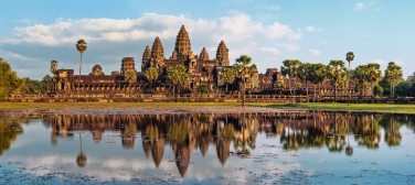 Ancient Khmer architecture. Panorama view of Angkor Wat temple a